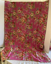 APRIL CORNELL 2000 PINK ROSE FLORAL COTTON RED VIOLETS 35 X 55 TABLECLOTH 1 OF 2