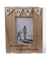 """Rustic Freestanding Shabby Chic Wooden """"Home"""" Bunting Photo Frame 19x24cm"""