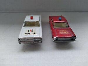 MATCHBOX SUPERFAST No 55 MERCURY POLICE CAR & REGULAR WHEEL 59 FORD GALAXIE .
