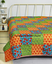 15156 Size Indian Cotton Patch Quilt Reversible Blanket Throw Ac Dohar Bedspread