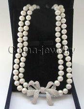 """P7345-2row 19-20"""" 9-10mm white round freshwater pearl necklace - Bowknot pendant"""