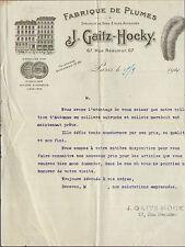 PARIS RUE REAUMUR GAITZ HOCKY FABRIQUE DE PLUMES BOAS ETOLES FACTURE 1921