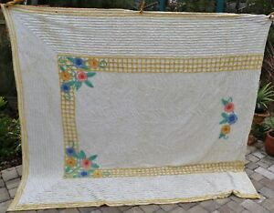 Vintage Chenille Floral Bedspread With Rare FLOWER TRELLIS~ QUEEN~NICE~