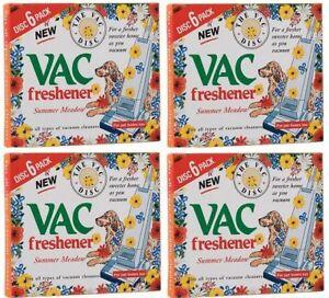 4x 6 PACK Vac Air Freshner  SUMMER Meadow Vacuum Cleaner Pet Lovers Hoover Disc