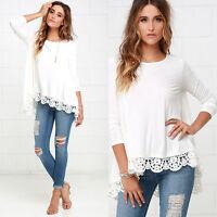 2018 Women's Long Sleeve Shirt Casual Lace Blouse Loose Cotton T Shirt Tops