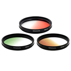 Zykkor 52mm Graduated Gradual Color Filter KIT - Green Red Brown for Camera
