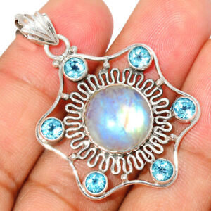 Moonstone - India & Blue Topaz Sterling Silver Pendant Jewelry BP65673 227H XGB