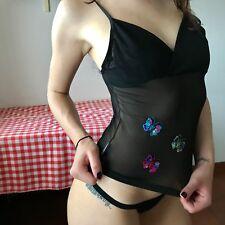 Y2k Mesh Top With Sequins Buttflies