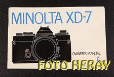 Minolta XD-7, originale Anleitung englische Ausgabe XD-7 english Edition  02699