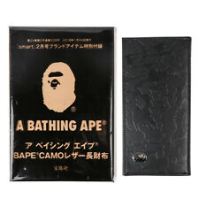 New A Bathing Ape Bape Leather Wallet Purse Organizer Bag With Box Package