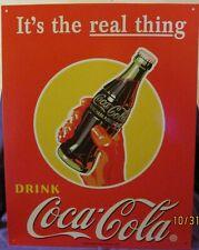 "COCA COLA  ""REAL THING"" TIN SIGN 16"" x 12 1/2"""