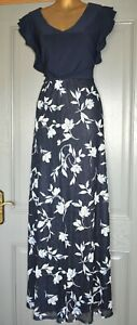 PHASE EIGHT LONG NAVY BLUE EVENING MAXI PARTY WEDDING OCCASION DRESS SIZE 18