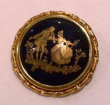 Vintage retro French Limoges La Reine porcelain framed brooch pin birthday