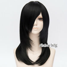 Anime Basic 45CM Black Long Wavy Heat Resistant Layered Hair Cosplay Wig+Cap