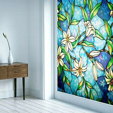 Bathroom Privacy Window Sticker Decorative Stained Glass Flower Tint Home UV New