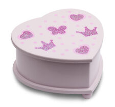 Girls Pink Ballet Dance Small Wooden Heart Music Jewellery Box By Katz JB18