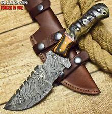 SFK CUTLERY RARE CUSTOM HANDMADE FIXED BLADE DAMASCUS ART HUNTING TRACKER KNIFE