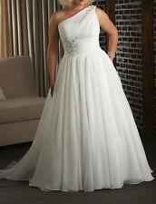 Plus size White Chiffon One Shoulder Wedding Dress Ivory Lace Up Bridal Gown