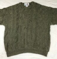 VTG Florence Tricot Mens XL Sweater Coogi Cosby Hip Hop Green Brown 3D Texture