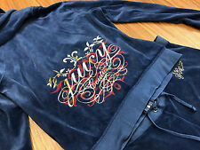 JUICY COUTURE VELVET TRACK SUIT 2 PC. HOODIE SET CRYSTAL BLING OCEAN BLUE XL!