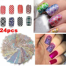 24Sheet Nail Art 3D Design Transfer Stickers Manicure Tips Decal Decoration Tool