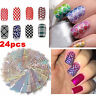 24 Sheet Nail Art Transfer Stickers Decal 3D Manicure Tips DIY Decoration Tool