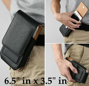 For LG Velvet 5G - Black Leather Vertical Holster Pouch Belt Clip Case Cover