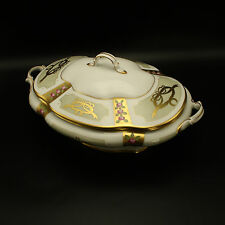 Faberge Gold, Enamel & Jeweled Covered Casserole Limoges Porcelain China 24k