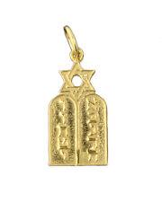 Jewish Star of David Torah 10 Commandments from Book of Exodus 10K gold charm