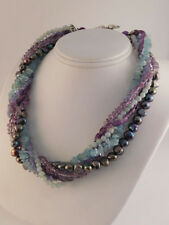 GEMSTONE TORSADE NECKLACE AMETHYST PEARL AMAZONITE APATITE STERLING MULTI-STRAND
