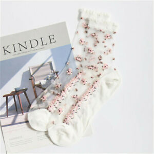 1Pair New Women Fashion Crystal Sheer Thin Ice Silk Lace Ankle Flower Rose Socks