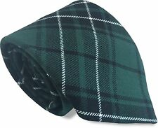Green and Black with White Stripe Tartan Formal Mens Tie Plaid Check MacLean