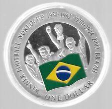 Cook Island 1 Dollar 2001 Silber PP(500 -ca20g)*Fußball WM/Brasilien - PP