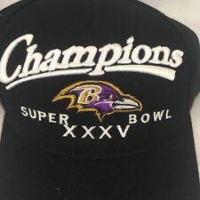 NOS Baltimore Ravens Super Bowl XXXV Champions Black Puma Brand Snapback Hat Cap
