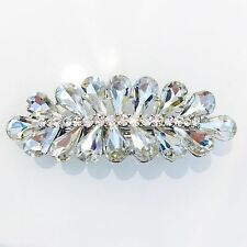 WOMENS BARRETTE use Swarovski Crystal Hair Clip Hairpin Elegant Silver B04
