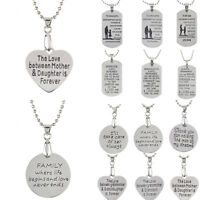 Heart Infinity Silver Family Love Mom Dad Daughter Pendant Necklace Jewelry Gift