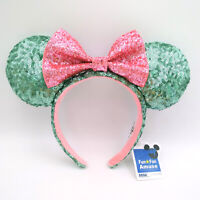 Glitter Green Pink Bow Disney Parks Disneyland Sequins Minnie Ears Headband