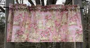 Floral Tea Cups Plate Hostess Server Green & Pink Handcrafted Curtain Valance