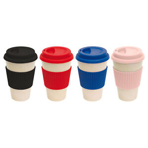 Reusable Bamboo Coffee Cups Eco Friendly Thermal Insulated Travel Mug Lid 450ml
