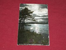 Vintage Artillery Point by Moonlight, Lake George, NY Postcard Posted #7579