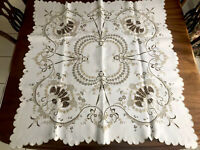 """VINTAGE HAND EMBROIDERED """" Arum Lilies """" TAUPE WHITE LINEN TABLECLOTH 38X41"""""""