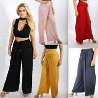 Women's High Waist Pleated Wide Leg Flared Palazzo Trousers Ladies Pants 8-16