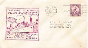 """USA 1932, """"U.S. GER. SEA POST - S.S. MANHATTAN"""" Schiffspost-SST MAIDEN VOYAGE"""