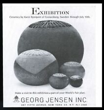 1964 Karin Bjorquist ceramics exhibition photo Georg Jensen NYC vintage print ad