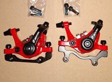 Bicicleta de montaña Xc Am calibradores mecánicos de Bicicleta Frenos de Disco Delantero Trasero Ambos Lados Push Rojo