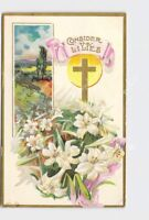 PPC POSTCARD EASTER CONSIDER THE LILIES CROSS FLOWERS GOLD EMBOSSED