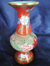 "Chinese Cloisonne & Glass Gu Shape Vase 5"""