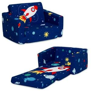 Flip Open Blue Sofa Lounger Space Kids Furniture For Boys Bedroom Playroom Room