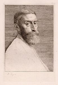 "Strong 1800s Alphonse LEGROS Original Etching ""Edward Poynter"" Signed Framed COA"