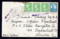 USA 1936 cover Santa Barbara via RMS Cathay to UK Tilbury Docks cachet WS11413